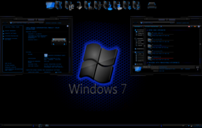 Тема для Windows 7: black seven blue 3 by tono3022