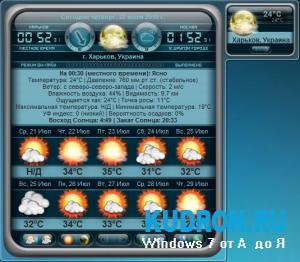 "Последняя версия гаджета ""Pro Weather Gadget v.2.0.7"""